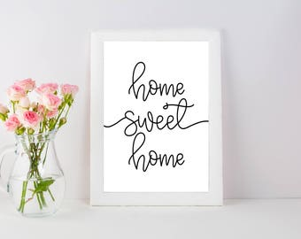 Home Sweet Home | Home Decor | Home Quote | Wall Decor | Cheap Decor | Hand Lettered | Home Sign