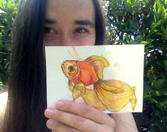 Watercolour art goldfish drawing postcard goldfish illustration