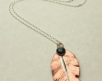 Feather Turquoise Necklace Sterling Silver & Copper Textured Feather Pendant