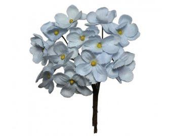 Czech Republic Forget Me Nots 12 Millinery Fabric Flowers Pale Blue NFC045LB