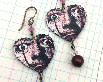 Valentine's Day Love Dali Earrings, Mixed Media Love Jewelry, Art Wearable Hearts