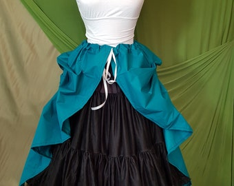 Teal Midi Length Tie Bustle Skirt-One Size Fits All