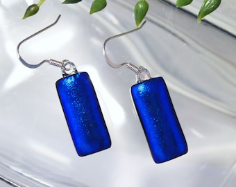 Fused Dichroic Glass BRILLIANT BLUE Earrings, Dichroic Earrings, Sterling SILVER Ear Wires