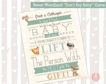Sweet Woodland Baby Shower Game Don't Say Baby Instant Download | Forest Friends Baby Shower | Woodland Animals