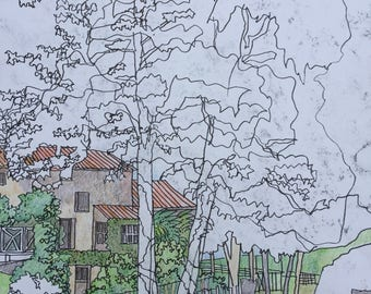 Original landscape drawing coloured pencil and pen 1564