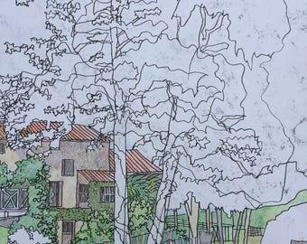 Original landscape drawing coloured pencil and pen 1564