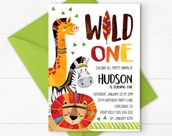 Jungle invitation, jungle birthday invitation, safari birthday invitation,  jungle first birthday, safari birthday