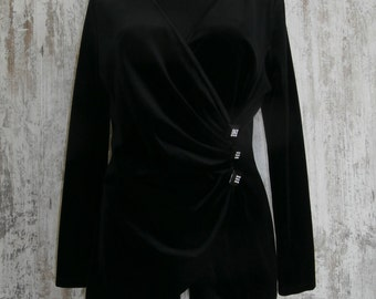 Vintage France Velour Women's Blouse Black size M