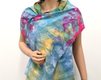 Scarf Bamboo Hand Dyed Ice Soft Multicolored Colorful Elegant Yellow Blue Green Fuchsia Pink Brown Purple Impressionist Lightweight Spring