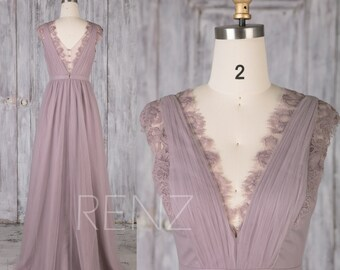 Bridesmaid Dress Dark Mauve Tulle Dress,Wedding Dress,V Neck Lace Prom Dress,Illusion V Back A-Line Party Dress,Sleeveless Maxi Dress(LS493)