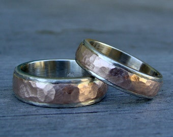 Recycled Wedding Bands / Rings - Set of 2 - 14k White and Rose Gold Two-Tone, 6mm and 5mm Wide, Hammered, Matte, Eco-Friendly, Made to Order