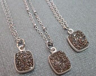 Druzy Necklace / Platinum Gray Drusy Necklace / Platinum Druzy Bezel / Small Sparkly Minimal Gray Stone Necklace /Bridesmaid Wedding/GD5