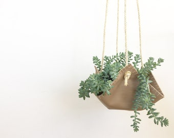 Vegan Leather Hanging Planter, Plant Hanger - The Pouch in Natural