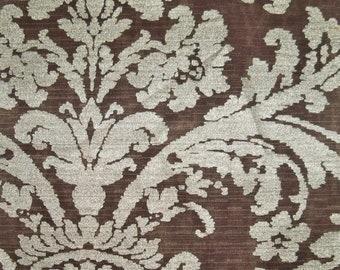 DESIGNER PHOENICIAN LOTUS Damask Fabric 10 Yards Brown Gold