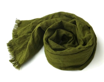 extra long olive green linen scarf