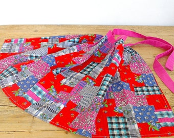 Vintage half apron pink blue red.Patchwork pattern.Shocking pink.Hostess apron.Pair of aprons.Summer aprons.Womans half apron.Gift for baker