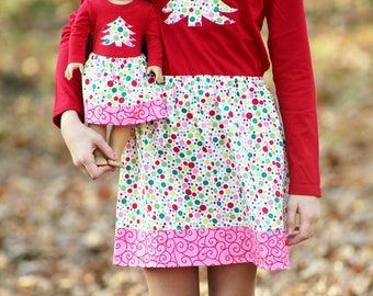 Size 12 SAMPLE SALE - Matching Girl and Doll Clothes Fits American Girl Doll - Christmas Polka Dot Skirts