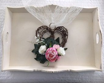 Church pew ends... Wicker hearts...Shabby chic country garden chair ends wedding decor vintage pink peonies and ivory roses with gypsophila