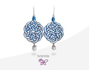 Brenda 2 Earrings. Fabric. Celtic knot. White earrings