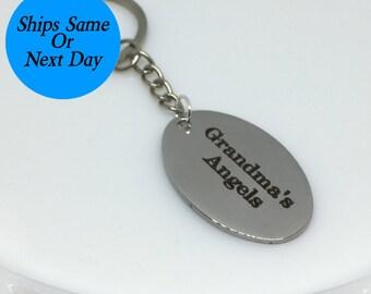 Grandma's Angels Keychain, Grandma Keychain, Grandma Gift, Gift for Grandma, Engraved Keychain, Custom Keychain, Grandma's Angels Keys