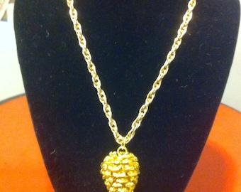 Acorn pendant gold tone
