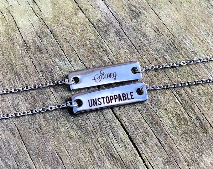 STRENGTH: stainless steel inspirational bar necklaces