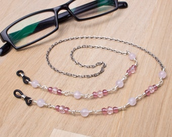 Rose quartz glasses chain - gemstone and pink bead eyeglasses cord | Sunglasses lanyard necklace | Eyewear accessories | Glasses chain