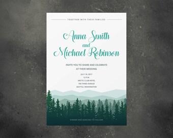 Wedding invitation, rustic invitation, wedding invitation template, wood, forest, spruce, fir, tree, nature, mountains