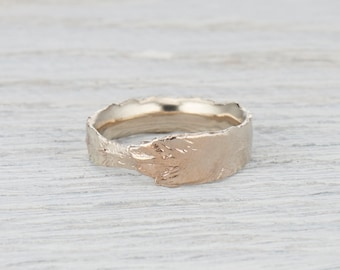 Feather Textured Wedding Ring - Mens Womens Gold Feather Wedding Ring in Palladium, Rose Gold, Yellow Gold, White Gold or Platinum