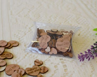 Confetti Wooden Hearts Love Best Day Ever Wedding Happily ever after, Wedding Confetti, Wooden Confetti, Love Hearts