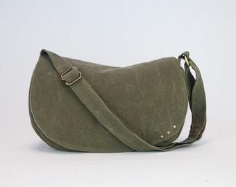 Waxed Canvas Crossbody Bag / Waxed Canvas Crossbody / Waxed Canvas Handbags / Waxed Canvas Purse / Waxed Canvas Bags / Olive Bag