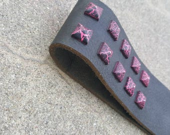 "BDSM Spanking Paddle Black Leather Discipline Strap with Pink Purple Pyramid Rivets- ""The Beautiful Beast"""