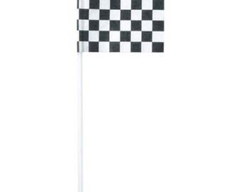 Checkered Racing Flag Cupcake Picks - 24 Picks