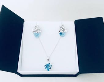 Light Blue Jewels Parure made with Crystal Heart and Silver925 Necklace, gift for her, gift treat yo self, azure, valentines, engagement