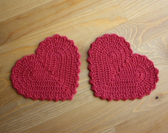Crochet Heart Coasters
