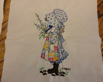 Vintage Holly Hobbie hand embroidered