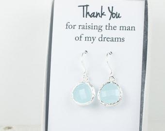 Blue Sea Opal Silver Earrings, Blue Silver Earrings, Bridesmaid Gift, Bridesmaid Earrings, Blue Wedding Jewelry