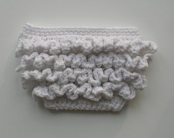 Crochet Ruffle Diaper Cover/Diaper Cover/Ripples and Ruffles/soaker/bloomers/Diaper cover with ruffles/girls Ruffle Diaper Cover /