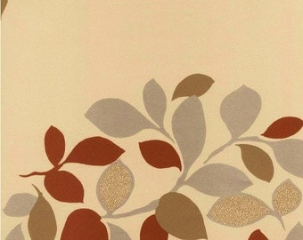 Earthy Contemporary Leaf Wallpaper - Transitional, Abstract, Botanical, Tree, Cream, Taupe, Burnt Orange, Silver - By The Yard - HB25876 *