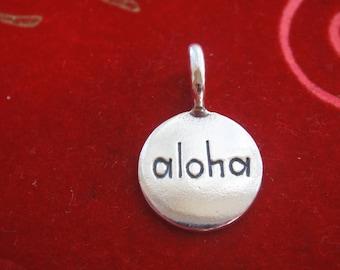 "925 sterling silver oxidized ""ALOHA"" disc, silver aloha disc, silver disc"