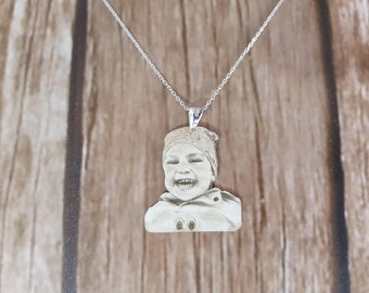 Mothers's Day Gift, Personalized Photo Necklace, Silver Necklace, Personalized Silver Necklace, Custom Picture Necklace, Mothers Day