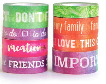 Washi Tape Set 8 Rolls MULTICOLORED WORDS Crafting Tapes Tube Color Splash Marbled Ombre w/ Metallic Gold Foil Planners Craft Planner Crafts