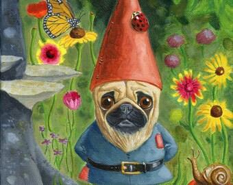 Pug gift, Pug art print, Gnome art  by Brian Rubenacker, pug gnome dog art