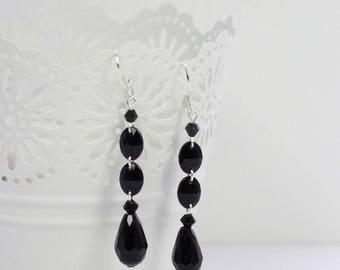 Black crystal earrings, teardrop crystal earrings, long earrings, elegant earrings, black earrings, oval crystal earrings