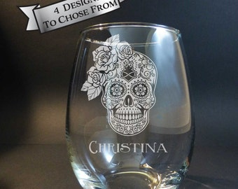 Bride Sugar Skull Engraved Stemless Wine Glass, Ladies Sugar Skull, Floral Sugar Skull, Day of the Dead, Dia de Los Muertos, Wedding Gift