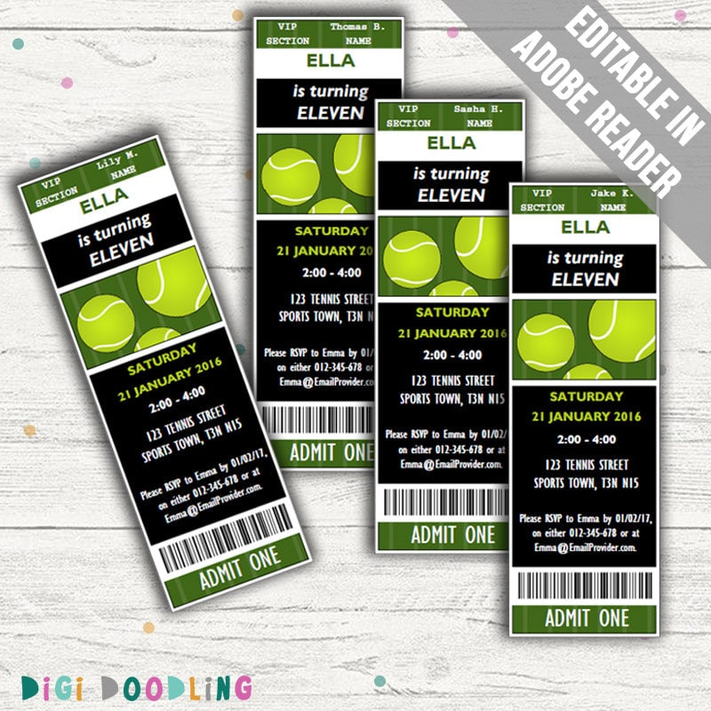 Tennis Party Invitations. Editable PDF. Printable. Instant