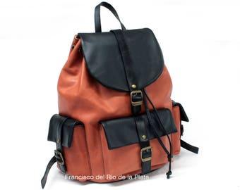 Vintage Leather Backpack 3 Pockets