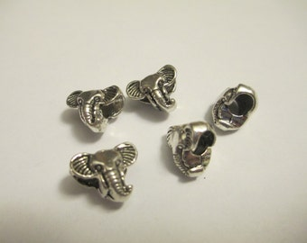 5 Silver Plated Elephant Euro Beads Jewelry Making Supplies Jenuine Crafts