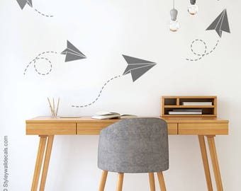 Origami Airplanes Wall Decal, Origami Airplanes Wall Sticker Office Wall Decal, Geometric Airplanes Wall Decal for Home Living Room Decor