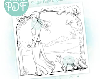 Spirit of the Fox - Single Adult Coloring Page Digital Download PDF with Dark and Gray Line Options